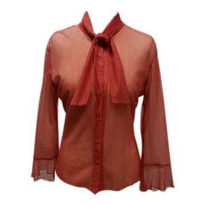 Dries Van Noten chiffon bow detail coral vintage blouse