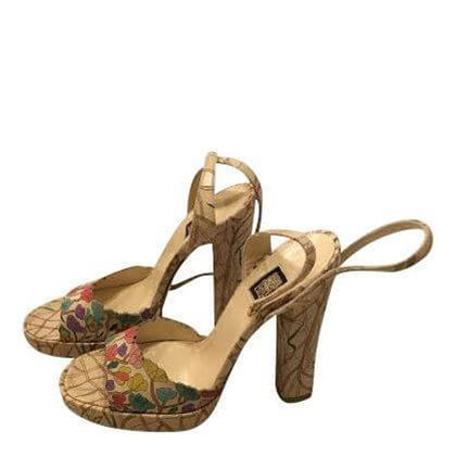 Biba Iconic 1970s floral print vintage high heeled shoes