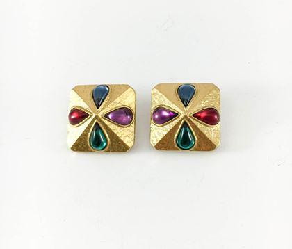 Yves Saint Laurent Gripoix Gold-Plated Earrings, by Robert Goossens - 1980s