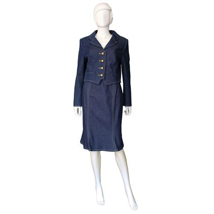 Donald Campbell 1980s denim blue vintage Skirt Suit