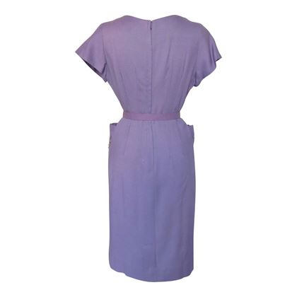 Vintage 1960s Linen Wiggle Purple Dress