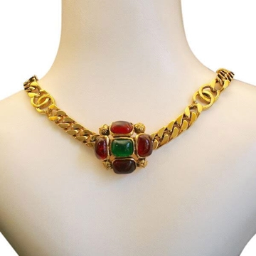 Chanel Gripoix Glass Maltese Cross Gold Vintage Necklace