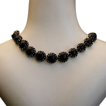 Christian Dior by Kramer 1950s Glass Cabochons Black Vintage Necklace