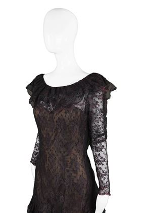 Victor Costa 1980's Lace Dark Purple & Black vintage Dress