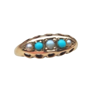 Edwardian 9ct Gold Turquoise & Seed Pearl vintage Ring