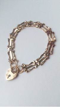 Antique 9ct gate & heart gold vintage Bracelet