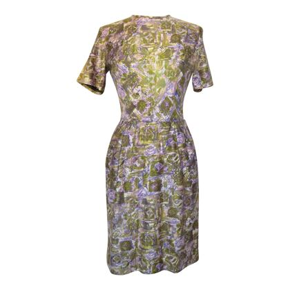 Vintage 1960s Abstract Print Day Purple Dress
