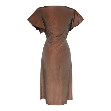 Vintage 1940s Ed Mar Original Shot Taffeta Cocktail Brown Dress