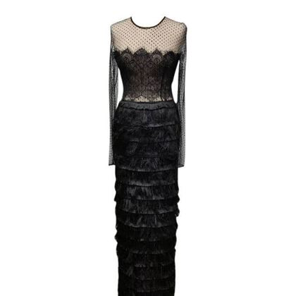 Isabel Garcia tiered lace black vintage dress