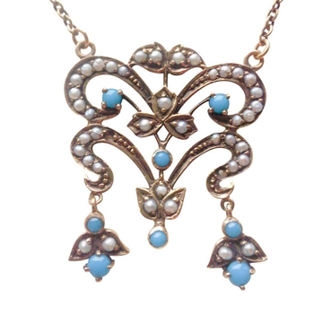 Edwardian antique 14ct Gold Turquoise & Seed pearl vintage pendant
