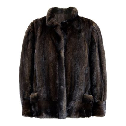 Vintage 1970s mink fur dark chocolate brown vintage jacket