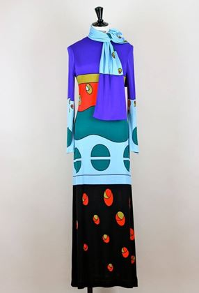 Louis Feraud 1970s jersey pattern vintage Dress