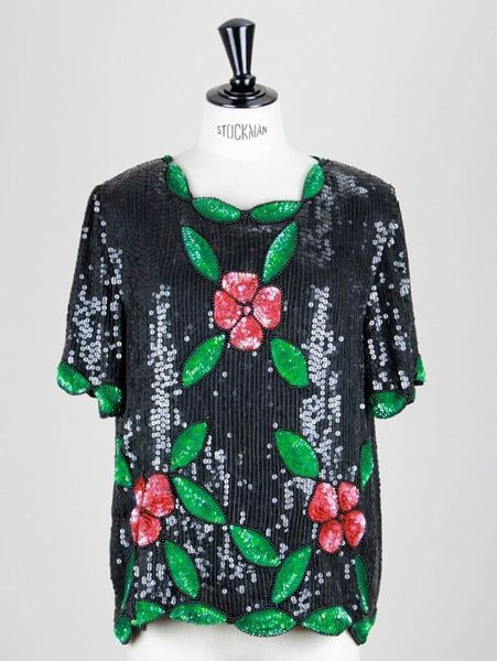 Vintage 1980s Sequined floral black Tunic Top