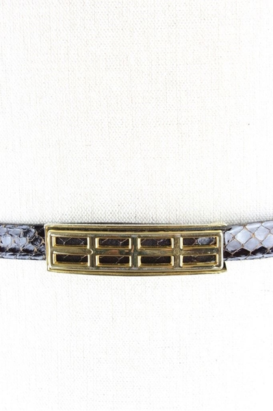 Vintage Snakeskin Pattern brown leather Belt