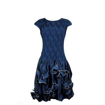 Louis Feraud 1980s Drop-waist silk blue vintage Dress