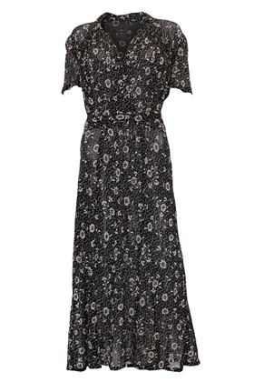 Vintage 1940s Stencil Printed Mesh black Dress