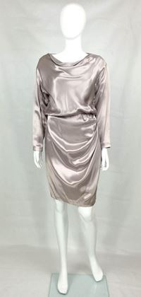 Picture of Yves Saint Laurent Silk Satin Draped Dress - 1988s