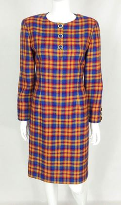 Valentino 1990s Wool Plaid red & blue vintage Dress