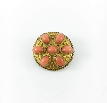 Antique 1840s disc shaped Coral & Gold Brooch