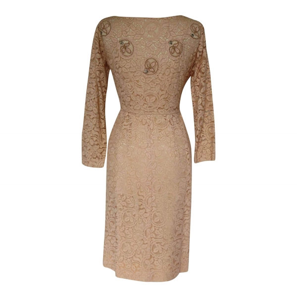 Vintage 1950s Lace Long Sleeve Cocktail Nude Dress