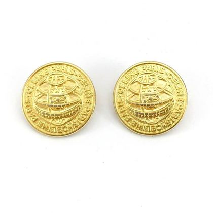 Celine 1990s Medallion Gold-Tone Clip-on vintage Earrings
