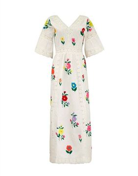 Vintage 1970s Mexican embroidered wedding dress