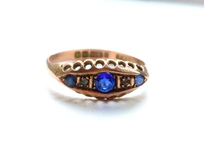 Edwardian 9ct Rose Gold Sapphire & Diamond vintage Ring