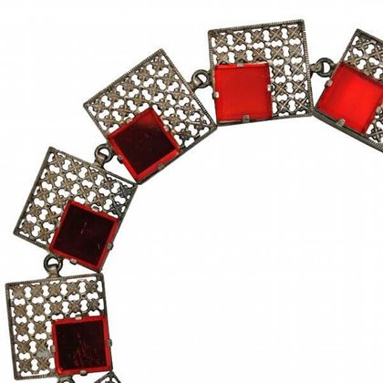 Vintage 1930s Mirrored Red Bracelet