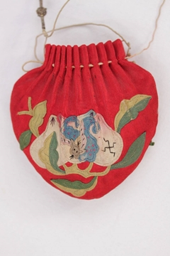 Antique Chinese Embroidered Silk Scent Red Vintage Pouch Bag