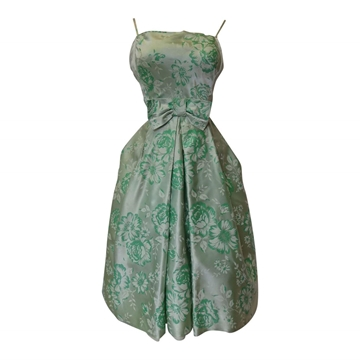 Vintage 1950s Satin Prom Green Dress