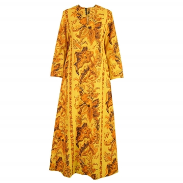 Janice Wainwright early 1970s printed yellow vintage Maxi Dress