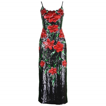 Balestra 1990s couture floral beaded vintage dress