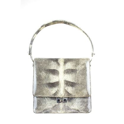 Vintage 1960s lizard print grey shoulder bag