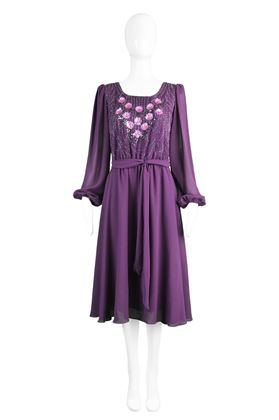 Jack Bryan 1970s Purple Beaded Chiffon Dress