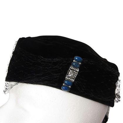 Vintage 1930's German velvet cocktail black hat