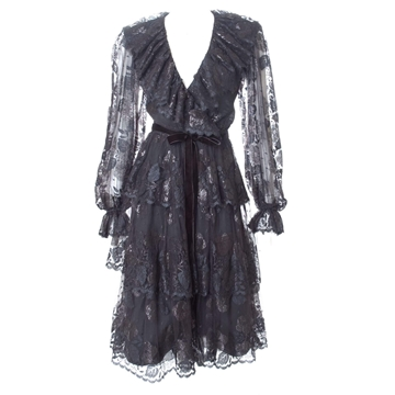 Jean Louis Scherrer Boutique Lace black vintage Cocktail Dress