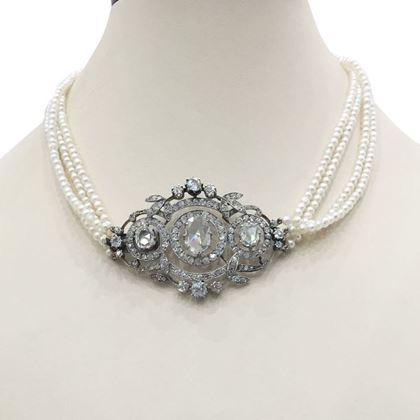 Antique Victorian Pearl & Diamond floral Choker Necklace