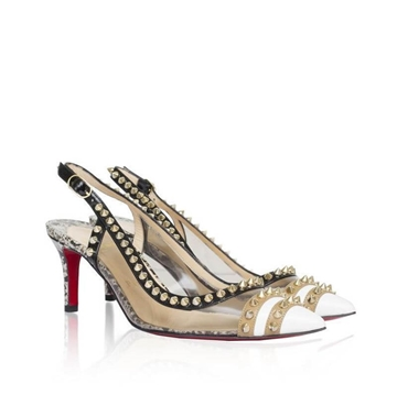 Christian Louboutin Manovra white vintage slingback pumps