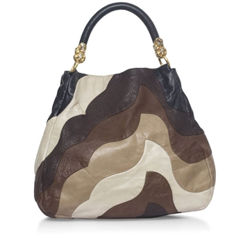 Miu Miu Patchwork brown, black and beige vintage tote bag