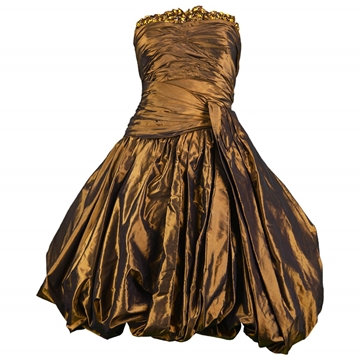 Jean Louis Scherrer 1980s Silk Taffeta Bronze vintage Evening Dress