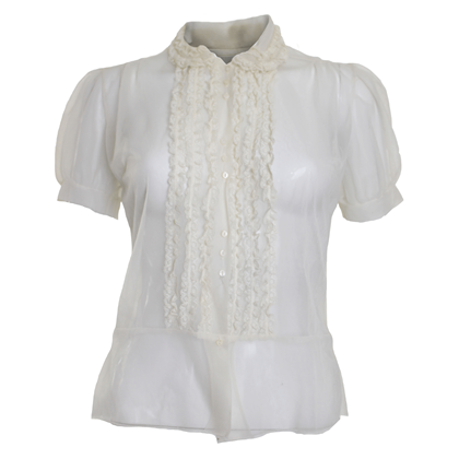 Vintage 1950s Sheer Cream Frilly Blouse