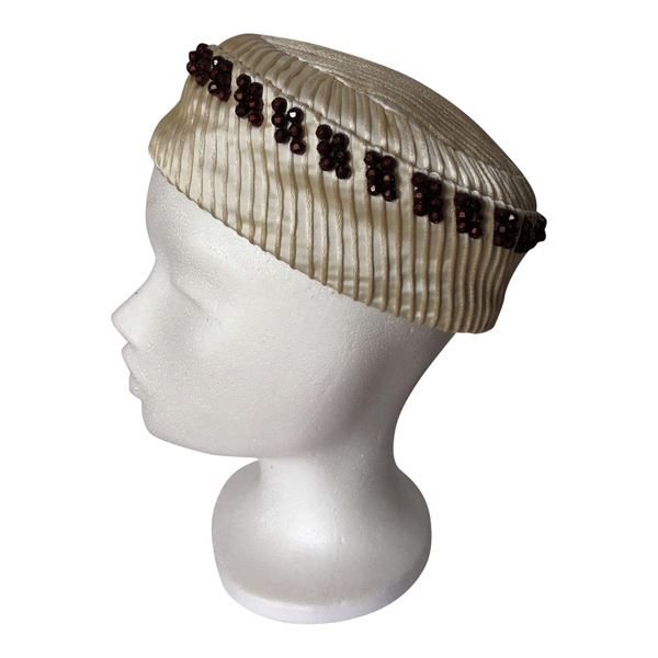 Vintage 1950s Ivory Satin beaded Pillbox hat