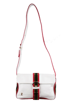 Roberta Di Camerino Leather Messenger Velvet Trim White Vintage Shoulder Bag