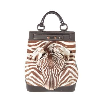 Albanese 1960s Zebra Fur & Leather Brown Vintage Tote Bag