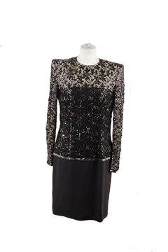 Andre Laug Embellished Long Sleeve black vintage evening dress