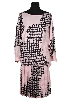 Andrea Odicini 1970s Pink and Black Abstract Houndstooth Print Top and Skirt Vintage Ensemble