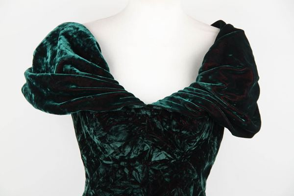 Antony Price Green Velvet Off Shoulder Vintage Mini Dress