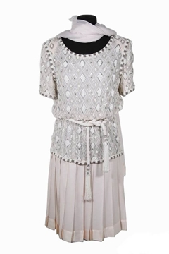Andrea Odicini Couture White Beaded Short Sleeved Vintage Dress