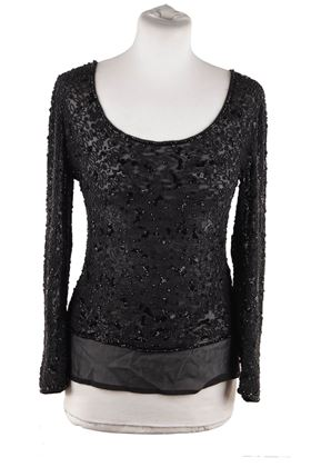 Valentino Couture Black Chiffon Beaded Long Sleeve Vintage Top
