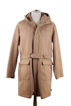 Moncler Wool Blend tan vintage hooded coat